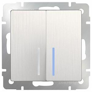 Выключатель проходной двухклавишный с подсветкой без рамки 3759