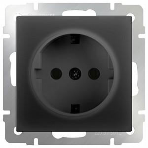 Розетка с заземлением без рамки Черный матовый WL08-SKG-01-IP20