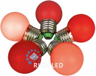 Лампа светодиодная RL-BL E27 220В 1Вт красный RL-BL-E27-G45-R
