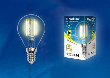 Лампа светодиодная Air E14 220В 6Вт 3000K LED-G45-6W/WW/E14/CL GLA01TR картон