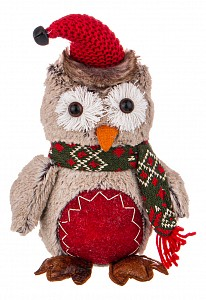 Мягкая игрушка (19х12х26 см) Сова в шарфе 476-116