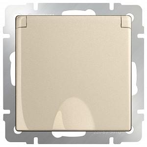 Розетка влагозащищенна с заземлением с крышкой со шторками, без рамки WL11 a040914