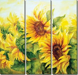 Набор из 3 картин (90х90 см) Подсолнухи в поле HE-107-123