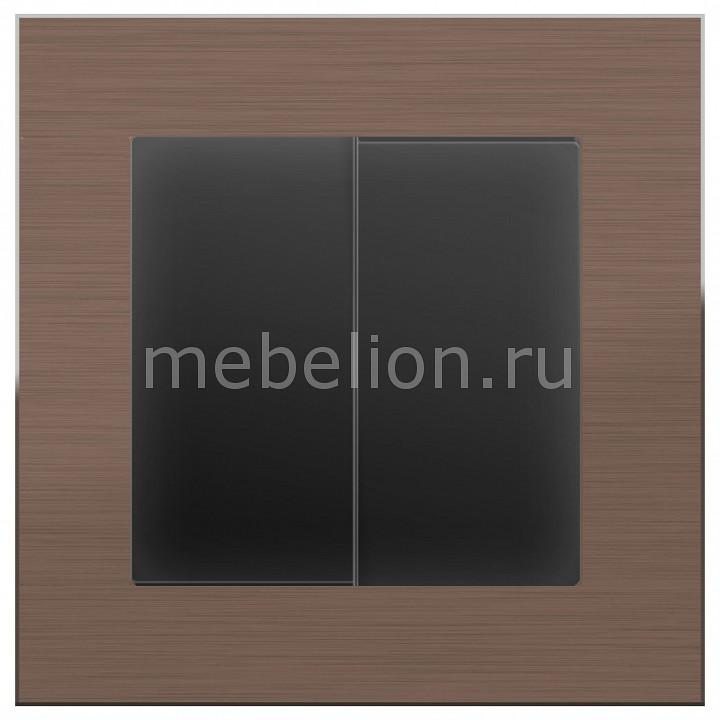 Выключатель проходной двухклавишный без рамки Aluminium (Черный матовый) WL08-SW-2G-2W-LED+WL08-SW-2G-2W
