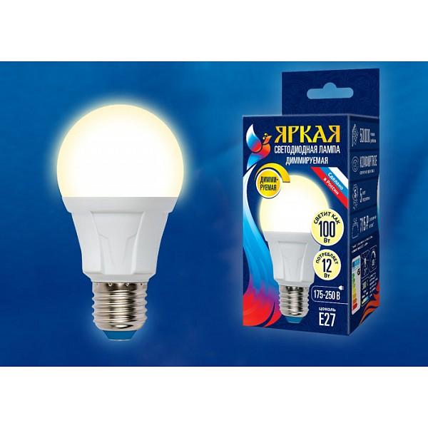 Лампа светодиодная Яркая Dim E27 175-250В 12Вт 3000K LED-A60 12W/3000K/E27/FR/DIM PLP01WH картон UL_UL-00004290