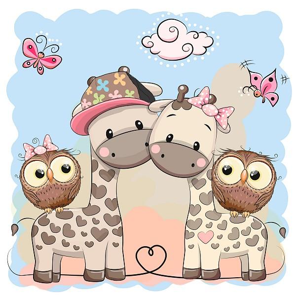 Картина (40х40 см) Жирафы совы HE-101-954 фото