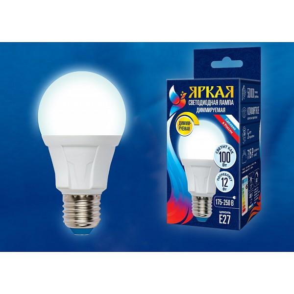 Лампа светодиодная Яркая Dim E27 175-250В 12Вт 4000K LED-A60 12W/4000K/E27/FR/DIM PLP01WH картон UL_UL-00004289