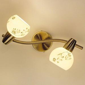 Спот поворотный Соната, 2 лампы E14 по 60 Вт., 4.7 м², цвет молочный с орнаментом сатин