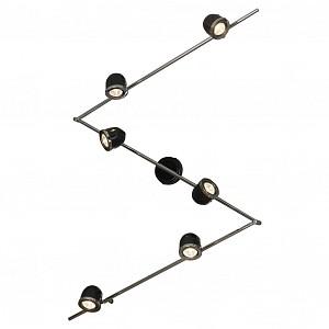 Спот поворотный Tivoli, 6 лампы GU10 по 5.5 Вт., 16.67 м², цвет черный с хромированной каймой глянцевый