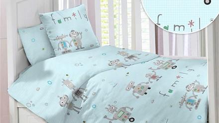 Детский комплект постельного белья Семейка Роботов