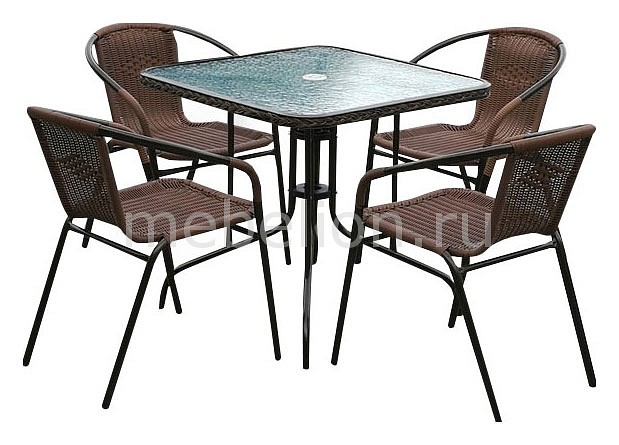 Набор уличный Afina Асоль-3 TLH-037AR2/070SR-70х70 R-05 Cappuccino стол afina garden асоль cdt01 d60