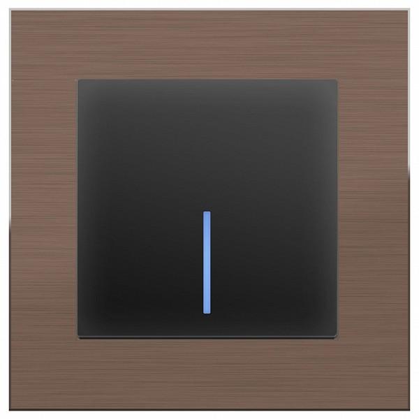 Выключатель одноклавишный с подсветкой без рамки Aluminium (Черный матовый) WL08-SW-1G-C +WL08-SW-1G-LED фото