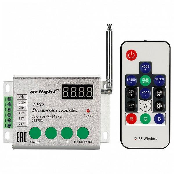 Контроллер-регулятор цвета RGBW с пультом ДУ CS-Slave-RF14B-2 (5-24V, ПДУ 14кн)