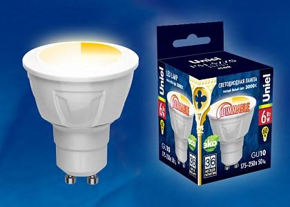Лампа светодиодная [LED] Uniel GU10 6W 3000K