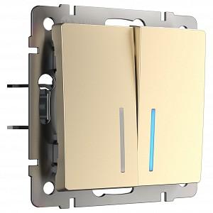 Выключатель двухклавишный с подсветкой без рамки W112 6 W1120111