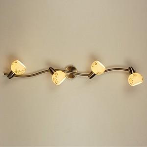 Спот поворотный Соната, 4 лампы E14 по 60 Вт., 9.4 м², цвет молочный с орнаментом сатин