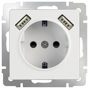 Розетка с заземлением, шторками и 2хUSB, без рамки Белый WL01-SKGS-USBx2-IP20